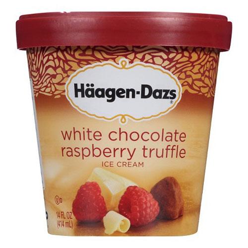 HAAGENDAZS ICE CREAM CHOCOLATE WHITE CHOCOLATE RASPBERRY TRUFFLE 14oz