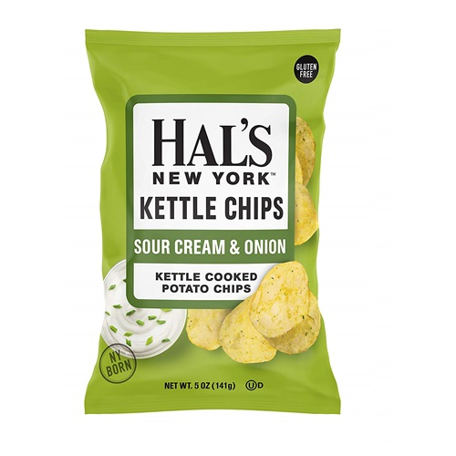 HAL'S NEW YORK KETTLE CHIPS SOUR CREAM & ONION 4.5oz.