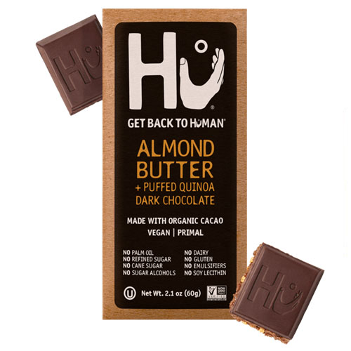 HU VEGAN PALEO ALMOND BUTTER + PUFFED QUINOA DARK CHOCOLATE 2.1oz
