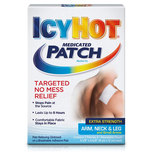 ICYHOT EXTRA STRENGTH PAIN RELIEVING MEDICATED PATCH  ARM NECK & LEG 5pc
