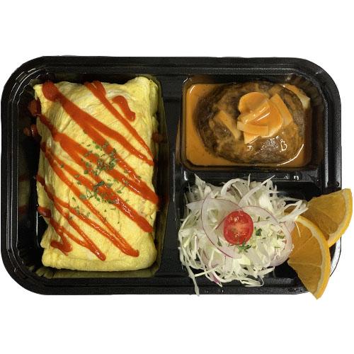JAPANESE STYLE BENTO (Veg Omelet Rice, Hamburg Steak w/sauce (ketchup, butter, Worchester), house sa