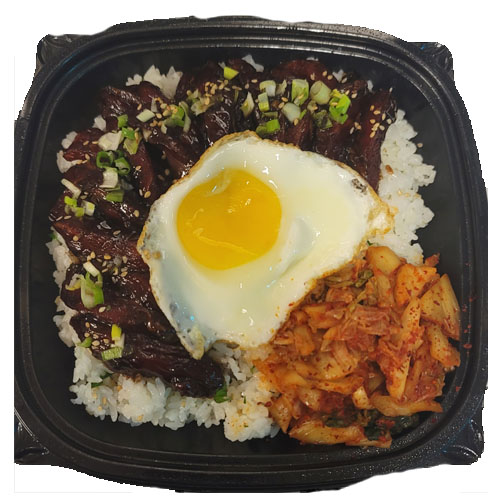 KALBI OVER RICE(White Rice, Soy-marinated Steak, Sunny side Egg, Kimchi, Sesame oil)