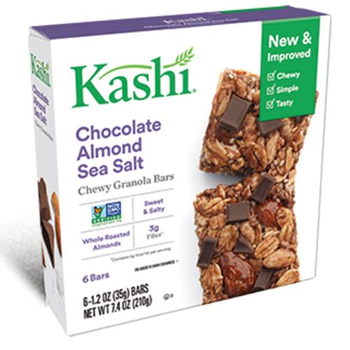 KASHI CHOCOLATE ALMOND SEA SALT CHEWY GRANOLA BARS 6-1.2oz