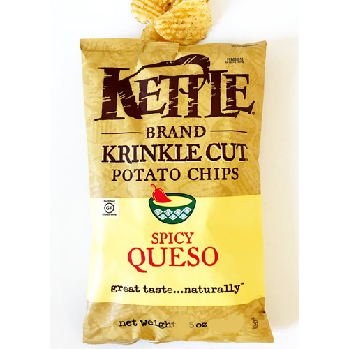 KETTLE KRINKLE CUT POTATO CHIPS SPICY QUESO 5oz
