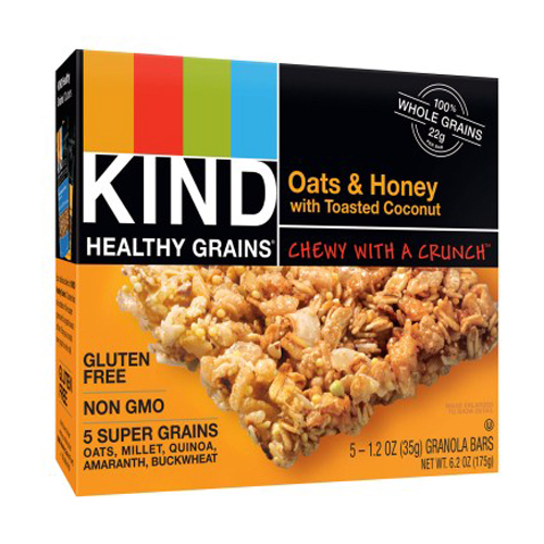 KIND HEALTHY GRAINS GLUTEN FREE OATS & HONEY WITH TOASTED COCONUT GRANOLA BARS 5-1.2oz