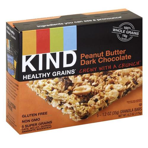 KIND HEALTHY GRAINS GLUTEN FREE PEANUT BUTTER DARK CHOCOLATE GRANOLA BARS 5-1.2oz
