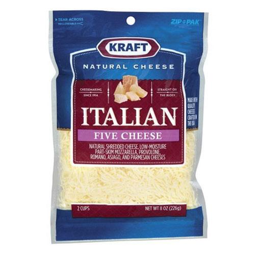 KRAFT SHREDDED CHEESE ITALIAN FIVE 8oz.