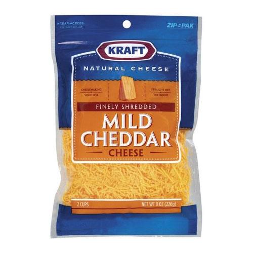 KRAFT SHREDDED CHEESE MILD CHEDDAR 8oz.