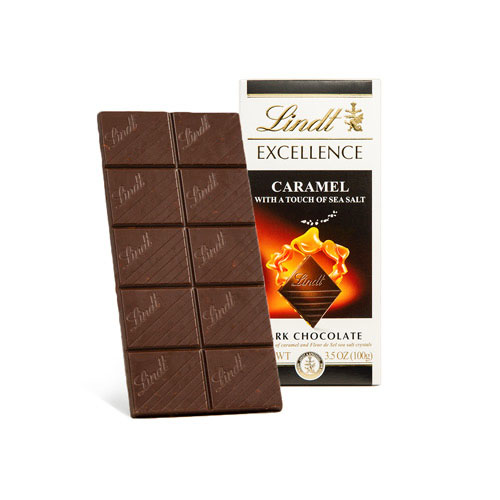 LINDT EXCELLENCE DARK CHOCOLATE CARAMEL WITH A TOUCH OF SEA SALT 3.5oz