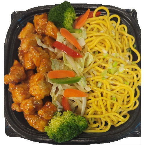 LOMEIN PLATTER (Egg Noodle, Stirfry Vegetables, Sesame Chicken)