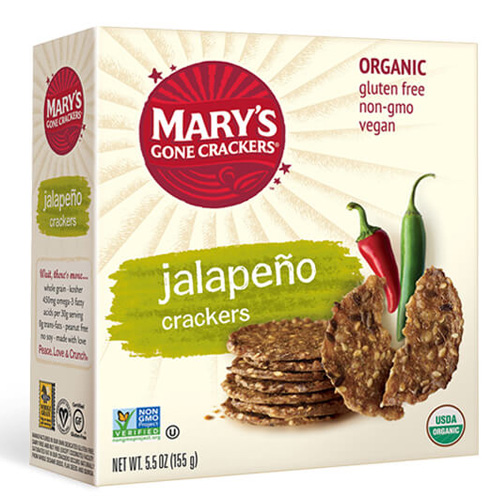 MARY'S ORGANIC CRACKERS GLUTEN FREE VEGAN JALAPENO 5.5oz