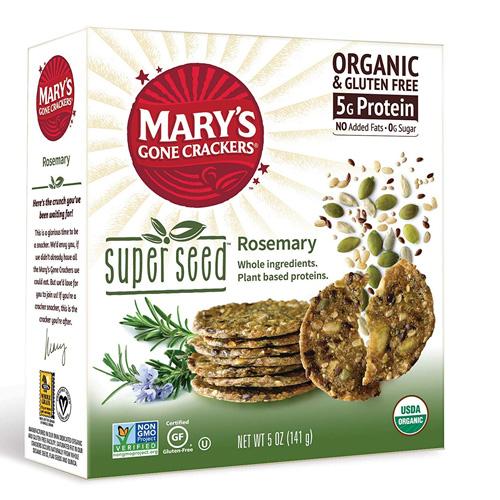 MARY'S ORGANIC SUPER SEED CRACKERS GLUTEN FREE VEGAN ROSEMARY 5.5oz