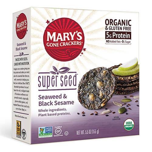 MARY'S ORGANIC SUPER SEED CRACKERS GLUTEN FREE VEGAN SEAWEED & BLACK SESAME 5.5oz