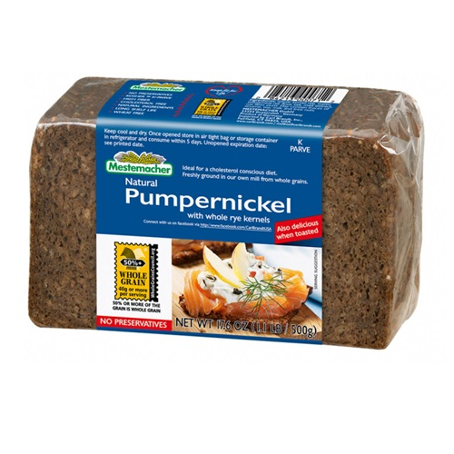 MESTEMACHER NATURAL PUMPERNICKEL WITH WHOLE RYE KERNELS BREAD 17oz