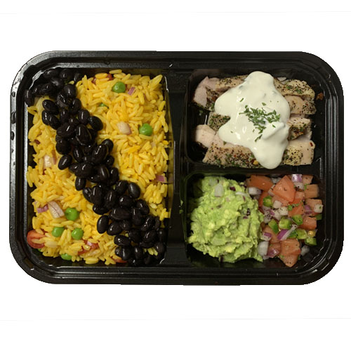 MEXICAN STYLE (Yellow Rice, Beans, Grilled Chicken w/ Sour Cream, Guacamole, Pico de gallo)
