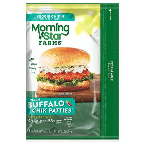 MORNING STAR FARMS VEGGIE BUFFALO CHIK PATTIES 10oz