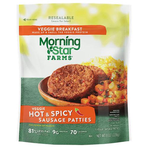 MORNING STAR FARMS VEGGIE HOT & SPICY SAUSAGE PATTIES 8oz