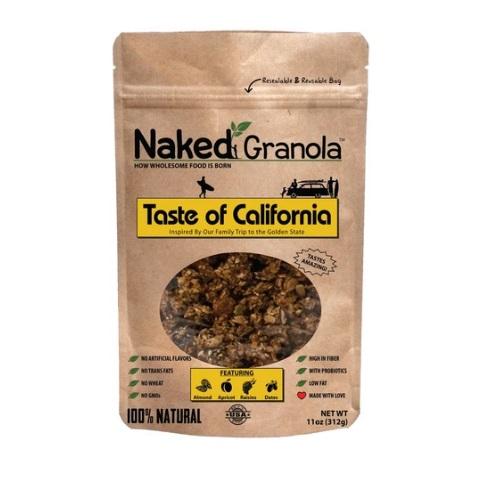NAKED GRANOLA TASTE OF CALIFORNIA ALMONDS APRICOTS RAISIN & DATES 11oz