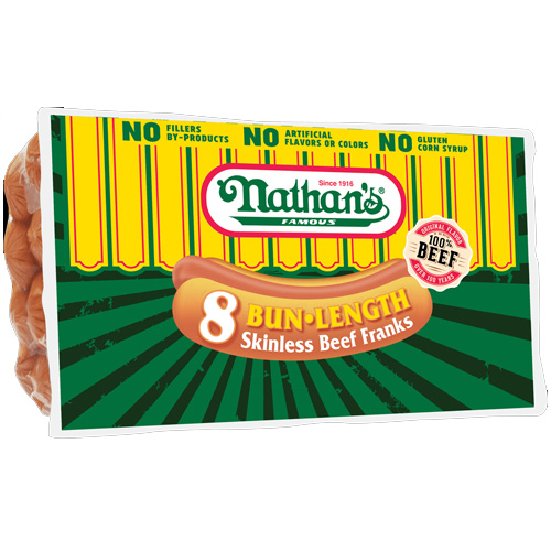 NATHAN'S SKINLESS BEEF FRANKS BUN SIZE 12oz