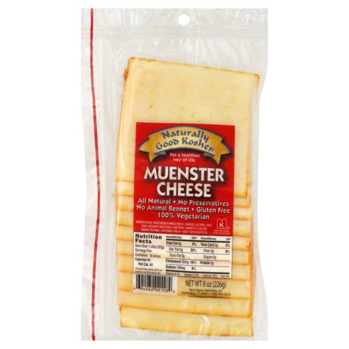 NATURALLY GOOD KOSHER SLICED MUENSTER CHEESE 8oz.