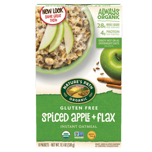 NATURE'S PATH ORGANIC INSTANT OATMEAL GLUTEN FREE SPICED APPLE + FLAX 11.3oz
