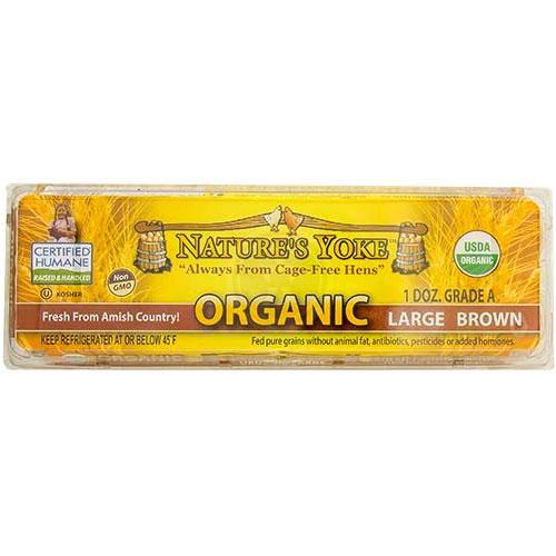 NATURES YOKE ORGANIC FREE RANGE LARGE BROWN EGGS 12pk