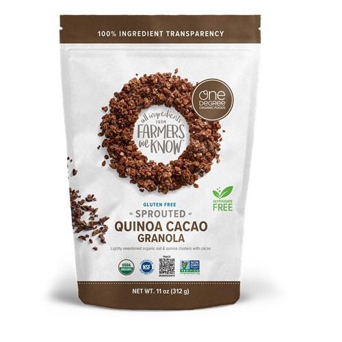 ONE DEGREE GRANOLA GLUTEN FREE SPROUTED QUINOA CACAO