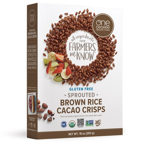 ONE DEGREE ORGANIC VEGANIC SPROUTED CEREAL BROWN RICE CACAO CRISPS 10oz