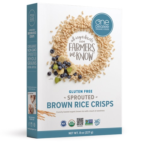 ONE DEGREE ORGANIC VEGANIC SPROUTED CEREAL BROWN RICE CRISP 8oz