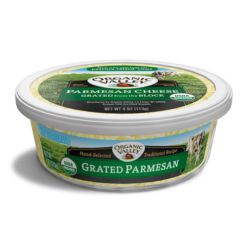 ORGANIC VALLEY GRATED PARMESAN CHEESE 4oz.