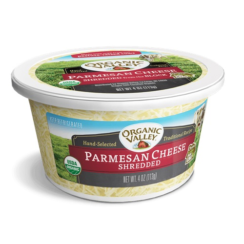 ORGANIC VALLEY PARMESAN CHEESE SHREDDED FROM THE BLOCK 4oz.