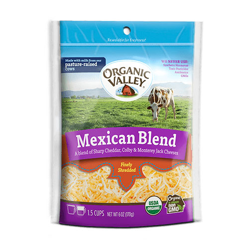 ORGANIC VALLEY SHREDDED CHEESE MEXICAN BLEND 6oz.