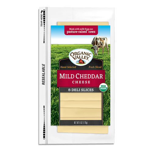 ORGANIC VALLEY SLICES MILD CHEDDAR CHEESE 6oz.