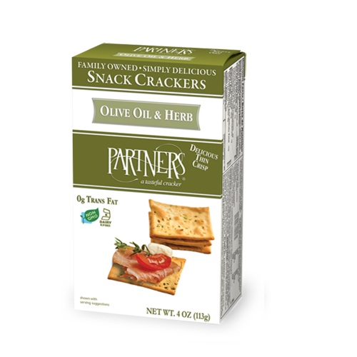 PARTNERS SNACK CRACKERS OLIVE OIL & HERB 4oz