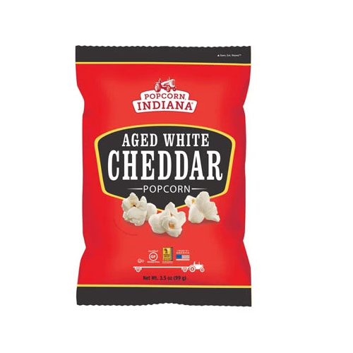 POPCORN INDIANA POPCORN AGED WHITE CHEDDAR 3.5oz.