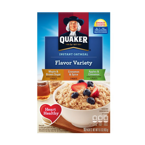 QUAKER INSTANT OATMEAL FLAVOR VARIETY 15.1oz