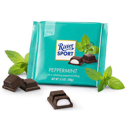 RITTER SPORT DARK CHOCOLATE WITH PEPPERMINT 3.5oz