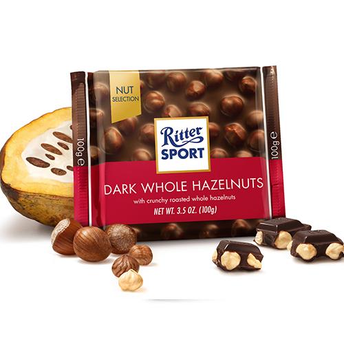 RITTER SPORT DARK CHOCOLATE WITH WHOLE HAZELNUTS 3.5oz
