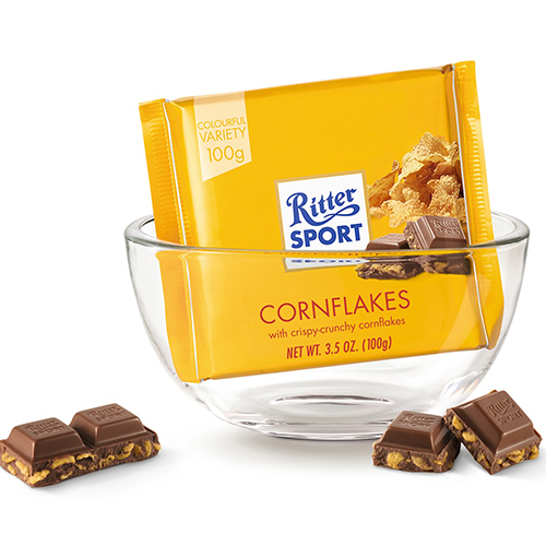 RITTER SPORT MILK CHOCOLATE WITH CORNFLAKES 3.5oz