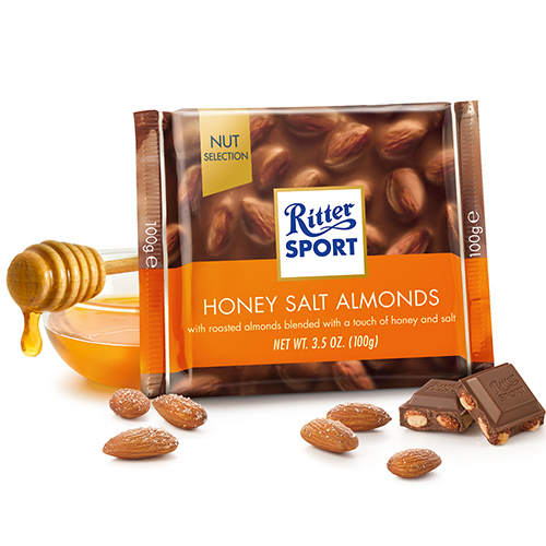 RITTER SPORT MILK CHOCOLATE WITH HONEY SALT ALMONDS 3.5oz
