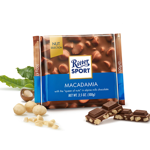 RITTER SPORT MILK CHOCOLATE WITH MACADAMIA 3.5oz