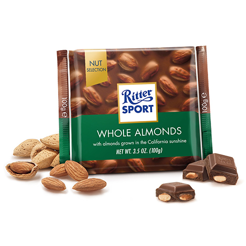 RITTER SPORT MILK CHOCOLATE WITH WHOLE ALMONDS 3.5oz