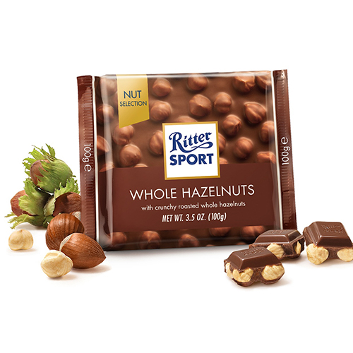RITTER SPORT MILK CHOCOLATE WITH WHOLE HAZELNUTS 3.5oz