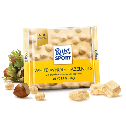 RITTER SPORT WHITE CHOCOLATE WITH WHOLE HAZELNUTS 3.5oz