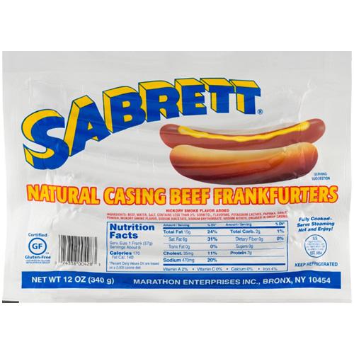 SABRETT NATURAL CASING BEEF FRANKURTERS 12oz