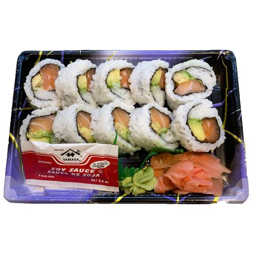 Salmon Avocado Roll (Salmon, Avocado, Rice, Vinegar, Sugar, Salt, Seaweed)