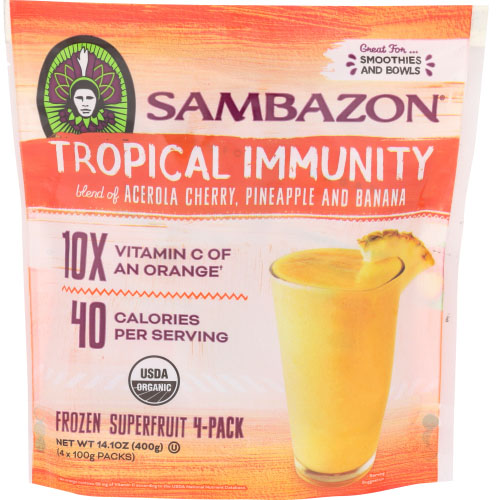 SAMBAZON SUPERFRUIT TROPICAL IMMUNITY ACEROLA CHERRY, PINEAPPLE & BANANA 14.1oz
