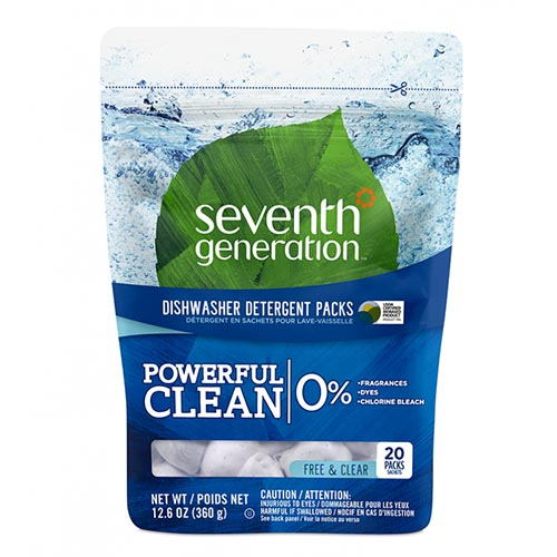 SEVENTH GENERATION POWERFUL CLEAN DETERGENT PACKS FREE & CLEAR 12.6oz