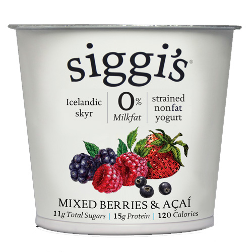 SIGGIS YOGURT 0% ACAI & MIXED BERRY 5.3oz