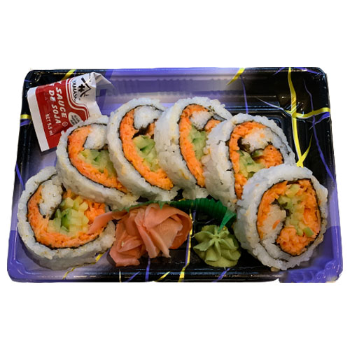 Spicy Crab Roll (Rice, Imitation Crab, Seaweed, Cucumber, Vinegar, Sugar, Salt, Mayonnaise, Hot Sauc